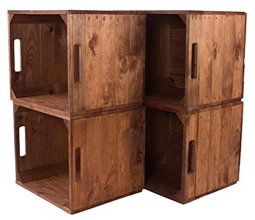 4X Vintage-Möbel 24 Holzkiste Used für Kallax Regale 33cm x 37,5cm x 32,5cm IKEA Regalkiste rustikal IKEA Einsatzkiste Weinkisten als Küchenregal Wandregal Badregal Obstkisten gebraucht alt