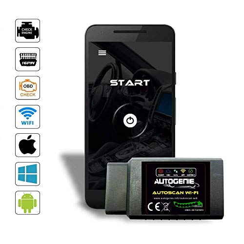 Autogenie ECHTZEIT-Daten am Handy WiFi WLAN OBD2 - GTÜ GEPRÜFT - Diagnosegerät für iOS iPhone & Android & Windows Lesegerät OBD II CAN BUS Interface Torque
