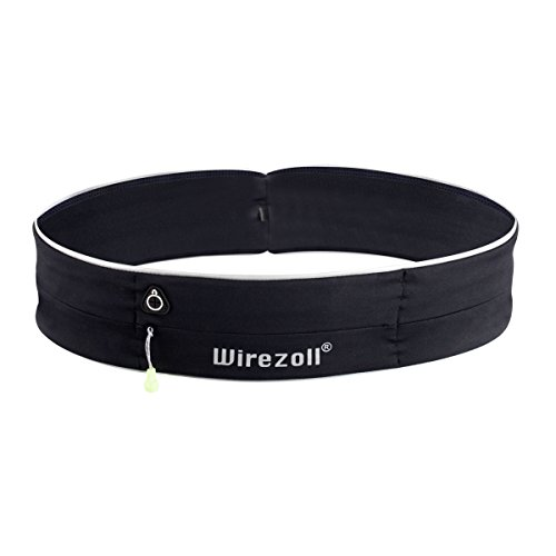 Hüfttasche für Sport, Wirezoll Wasserdichte Gürteltasche mit 2 Taschen für Joggen, Laufen, Fitness, mit Licht reflektor, Schwarz,Medium
