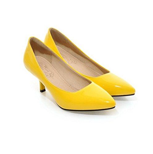 VogueZone009 Donna Pelle Di Maiale Tacco Medio Scarpe A Punta Tirare Ballet-Flats Giallo