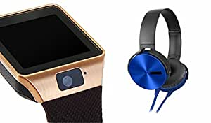MIRZA Smart Watch & Extra Bass Headphones With Mic for MICROMAX BOLT S300 (Bluetooth Headset & Bluetooth DZ09 Smart Watch Wrist Watch Phone with Camera & SIM Card Support Hot Fashion New Arrival Best Selling Premium Quality Lowest Price with Apps like Facebook, Whatsapp, Twitter, Sports, Health, Pedometer, Sedentary Remind & Sleep Monitoring, Better Display, Loud Speaker, Microphone, Touch Screen, Multi-Language, Compatible with Android iOS Mobile Tablet-Assorted Color)