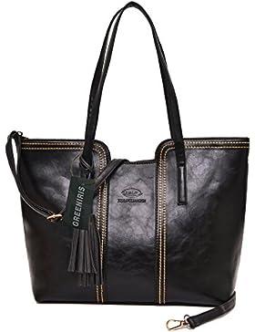 Greeniris PU Leder Handtaschen Damen Elegant Schultertasche mit Quaste Umhängetasche für Damen