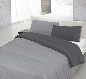 Italian Bed Linen 8058575000507 Parure Copri Piumino con Sacco e Federa in Tinta Unita Doubleface, Grigio Chiaro/Fumo, 100% Cotone, A Una Piazza e Mezza, 200 x 200 x 1 cm