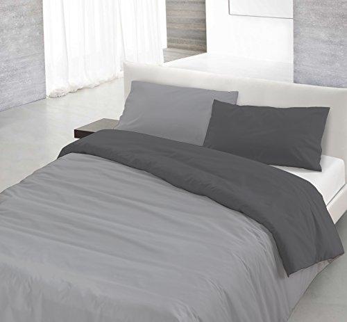 Italian bed linen natural color parure copripiumino con sacco e federa, 100% cotone, grigio chiaro/fumo, singolo, 150 x 200 cm, 2 unità