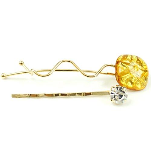 rougecaramel - Accessoires cheveux - Mini pince fantaisie métal doré lot de 2pcs - jaune