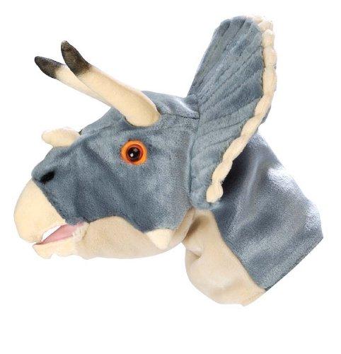 Wild Republic Natural History Museum - Marioneta de mano de peluche (32 cm), diseño de triceratops