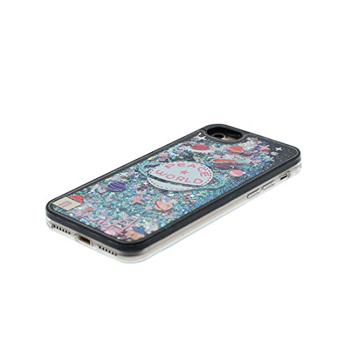 iPhone 7 Plus Custodia, Glitter Glitter Flowing Safe / Case iPhone 7 Plus Copertura / Shock Dust Resistant Shell e tappi antipolvere (gratis) / Cartoon Cover Spazio Pianeti galassiali Nero 8