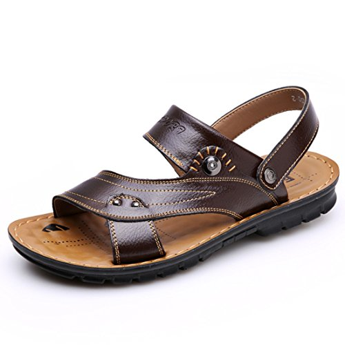 Men's Fashion Open Toe Genuine Leather Sandals brown