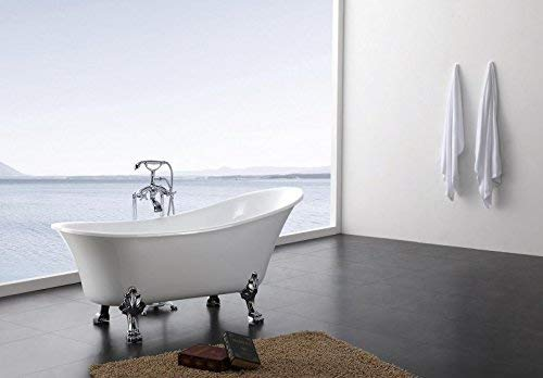 Freistehende Badewanne Acryl weiß 176 x 71 cm - Metallfüße Farbe der Füße:chrom