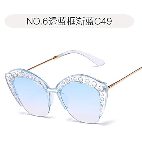 Sonnenbrille Frauen Top-Designerin Trend Cat Eye Diamond Eingelegten Rahmen Für Das Fahren Reisen Sport Im Sommer Winddicht Staubdicht Uv400 Transparent Blau Frame