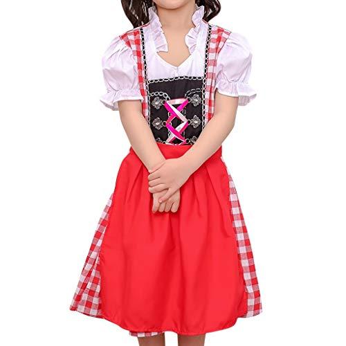 Bierfest Gitter Kleid Anzug Oktoberfest Kostüm für Mädchen Bayerisches Biermädchen Traditionelles Minikleid karnevalskostüme Vintage Elegant Deutsch Dirndl Maid Kostüm (L, rot) -