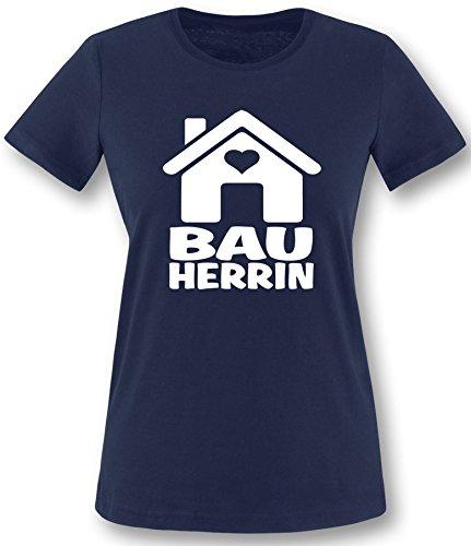 Luckja Bauherrin | Ideales Geschenk auch als Kombination für de Bauherrn | Damen T-Shirt Navy-Weiss Grösse L