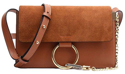 Catena In Pelle Signora Round Messenger Bag Brown