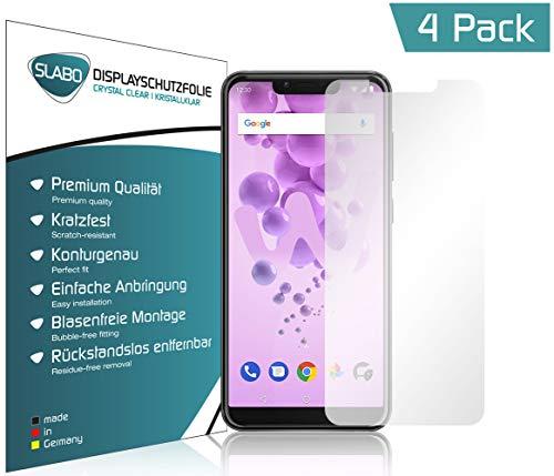 Slabo 4 x Bildschirmschutzfolie für Wiko View 2 Go Bildschirmfolie Schutzfolie Folie Zubehör (verkleinerte Folien, aufgr& der Wölbung des Bildschirms) Crystal Clear KLAR - unsichtbar Made IN Germany