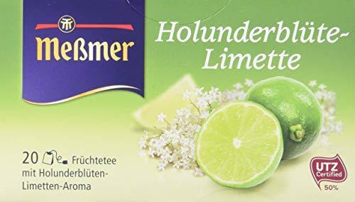 Meßmer Holunderblüte-Limette, 20 Beutel, 10er Pack (10 x 50 g)