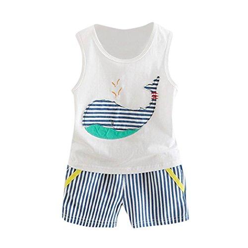 Babybekleidung,Resplend Kleinkind Baby Ärmellos T-Shirt 2 Stück Bekleidungssets Wal Weste + Streifen Shorts Outfits Kleidung Set (Weiß, 6M)