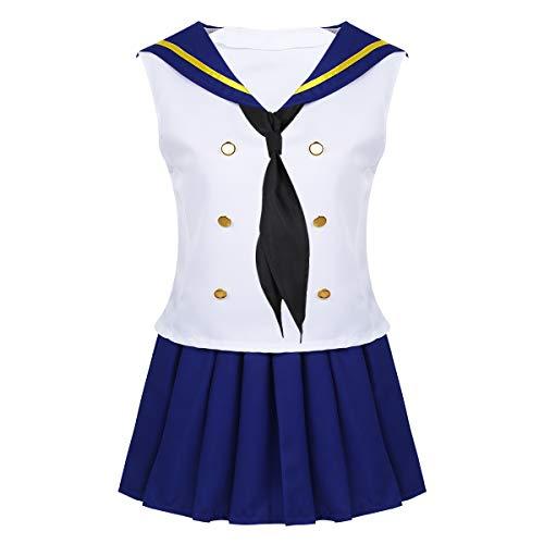 iixpin Damen Sailor Uniform Kleidung Set Mädchen Cosplay Verkleidung Anime Cosplay Kostüm Sommer Kleider Weiß&Blau Large
