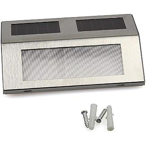 Bianco TJDlight 2 LED ad alimentazione solare luce scale via Passo montato a parete Scale in acciaio inox lampada