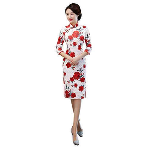 YAN Frauen-Chinesin Cheongsam Qipao Dress-Oriental Traditional Wedding Outfit Kostüm für Mädchen,1,L
