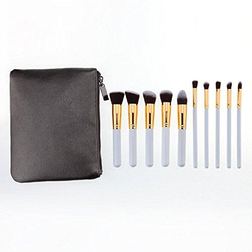 Fashion Lot de 10 pinceaux de maquillage professionnel Ombre à paupières pinceau fond de teint Eyeliner Ombre à Paupières Poudre Pinceaux pour Lady avec sac en cuir PU blanc