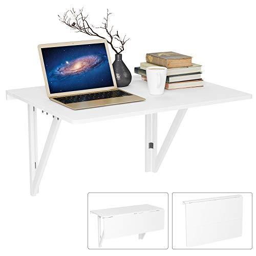 Homfa Wandtisch klappbar 80x60cm weiß mit 2 Halterungen Klapptisch Wand Küche Wandklapptisch Holz Esstisch Küchentisch Schreibtisch Computertisch 30KG belastbar -