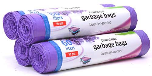 Sacchi per la spazzatura / 60 litri / 4 x 10 sacchetti / Sacchetti di immondizia profumati / Profumo di lavanda super forte / 3 strati / Stella Premium Bags Line