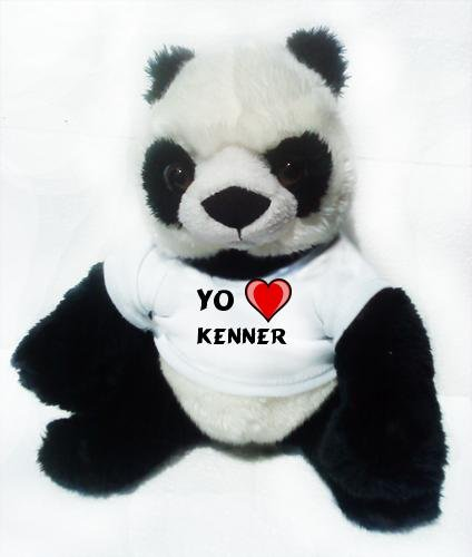 Panda de peluche (juguete) con Amo Kenner en la camiseta (nombre de pila/apellido/apodo)
