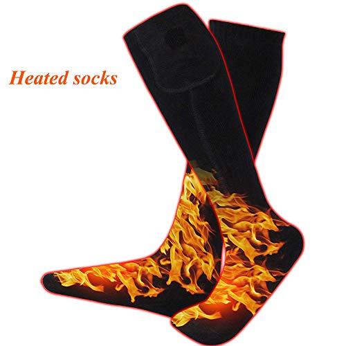 Beheizbare Socken Thermosocken Winter Fußwärmer Elektrisch Sportsocken Kniestrümpfe für Damen Herren Schwarz
