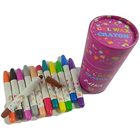 PartyErasers 3 in 1 - Crayon, pastello e WaterColour 12 colori Twistable Gel pastello di cera in
