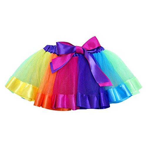 Yodensity Kinder Mädchen Bunt Prinzessin Ballett Tutu Rock Regenbogen Ballettrock S/M/L in 5 Farbe