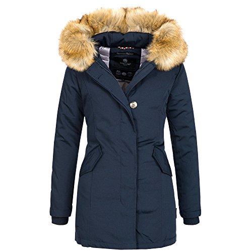 Marikoo KARMAA Damen Jacke Parka Mantel Winterjacke warm gefüttert Luxus XXL Kunstpelz 7 Farben, Größe:XXL - 44;Farbe:Navy