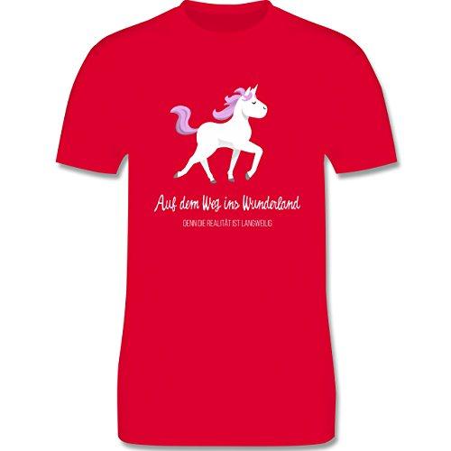 Shirtracer Statement Shirts - auf dem Weg ins Wunderland - Herren T-Shirt Rundhals Rot