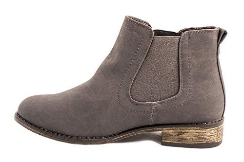 Elara Damen Chelsea Boots | Bequeme Flache Stiefel | Lederoptik Stiefeletten Grey Seattle