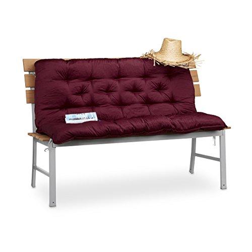 Relaxdays Bankauflage mit Rückenteil, Polsterauflage für Bänke, Rückenpolster & Sitzkissen, HBT: 10 x 119 x 96 cm, rot