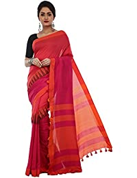 Avik Creations Women's Embroidered Khadi Handloom Cotton saree new collection Pink Orange