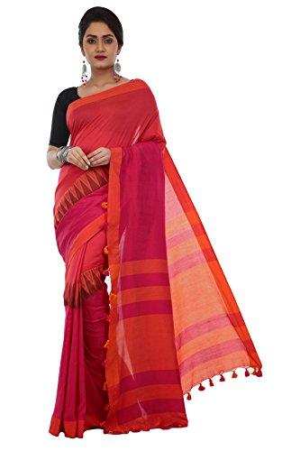 Avik Creations Women's Embroidered Khadi Handloom Cotton saree new collection Pink Orange
