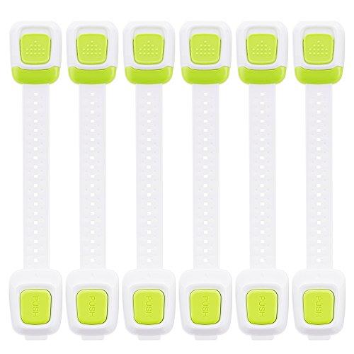 InnoBeta® 6 Stück Verstellbare Kindersicherheitsschlösser Klemmverschlüsse, Sicherheitsriegel Schlösser, Verriegelungssystem Kindersicherung für Schränke, etc.(Clikie) Test