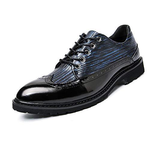 Fang-shoes, 2018 primavera/estate, scarpe oxford da uomo d'affari, casual primavera e autunno colorate scarpe brogue punto britannico antico (color : black blue, dimensione : 43 eu)
