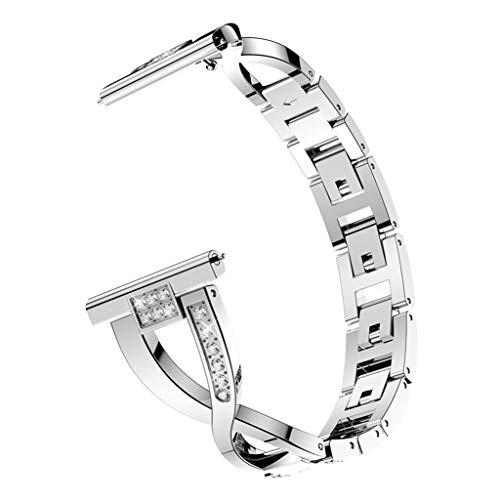 Für Fitbit Versa Lite Armband,Colorful Bling Kristall Metall Replacement Wrist Band Strap Edelstahl Watchband Uhrenarmband mit Interlock-Verschluss für Fitbit Versa Lite (Silber)
