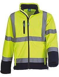 YK040 Men's YOKO Hi-vis Softshell Jacket (HVK09) 8000mm Breathable & 3000 mvp Waterproof 100% Polyester