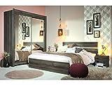expendio Schlafzimmer Galeno 306 Walnuss 4-teilig Doppelbett 2X Nachttisch Schwebetürenschrank
