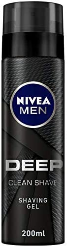 NIVEA MEN DEEP Clean Shave Shaving Gel, Antibacterial Black Carbon, 200ml