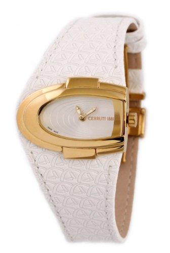 Cerruti CT069192006 - Reloj analógico de mujer de cuarzo con correa de piel blanca - sumergible a 30 metros