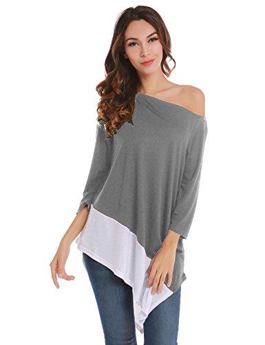 Blooming Jelly donna Patchwork una spalla lunga allentata superiore di modo autunno oversize camicetta grigio