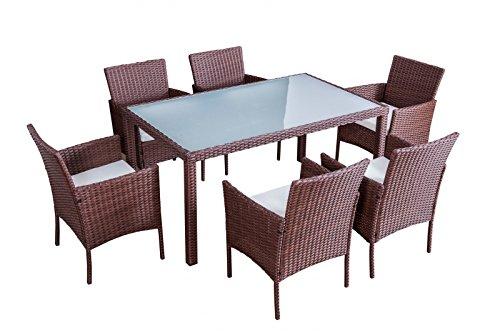 Jet-Line Gartenmöbel Mexiko braun Essgruppe Rattan Essgruppe sechs Stühle + Tisch aus hochwertigem Polyrattan (Stühle Sechs)