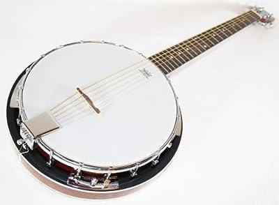 Banjo 6 cuerdas - caoba con REMO piel y la Funda acolchada