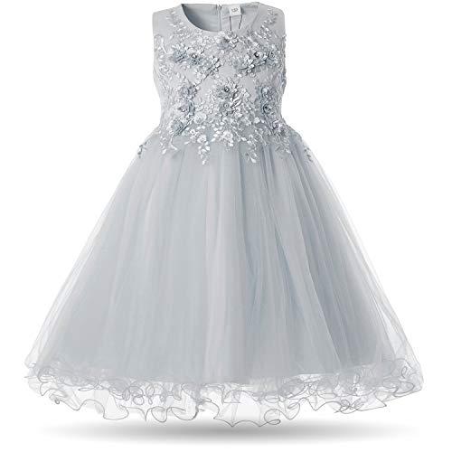 CIELARKO Mädchen Kleid Prinzessin Ärmellos Blumen Hochzeits Festzug Kleid Blumenmädchen Kleider