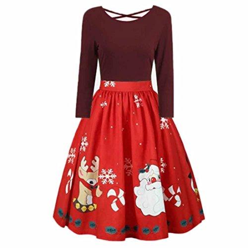 Damen Weihnachtskleid Sonnena Christmas Kleider Langarm Xmas Swing Abendkleid Spitzen Patchwork Top Mini Kleid Weihnachtsmann Schnee Gedruckt Partykleid Großen Dress Faltenrock Top (Wein, 2XL)