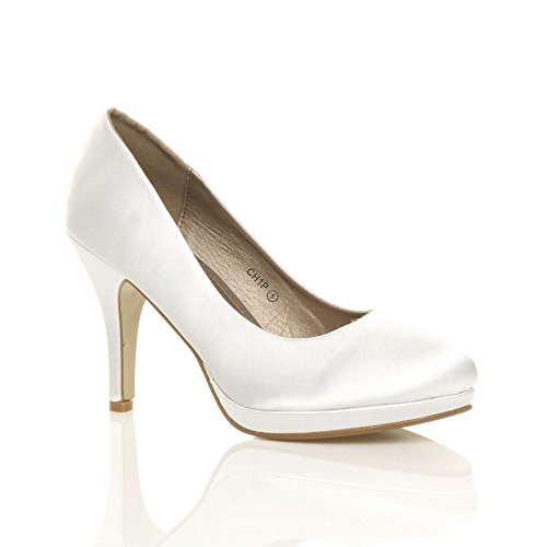 Donna tacco alto medio lavoro sera festa semplice décolleté scarpe taglia Raso bianco