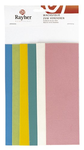 Rayher 3102400 Verzierwachs Pastell-Töne, Set 6 Verzierwachsplatten, Farben sortiert, je 20 x 6,5 cm, Wachs zum Kerzen verzieren, Kerzenwachs, Wachsfolie